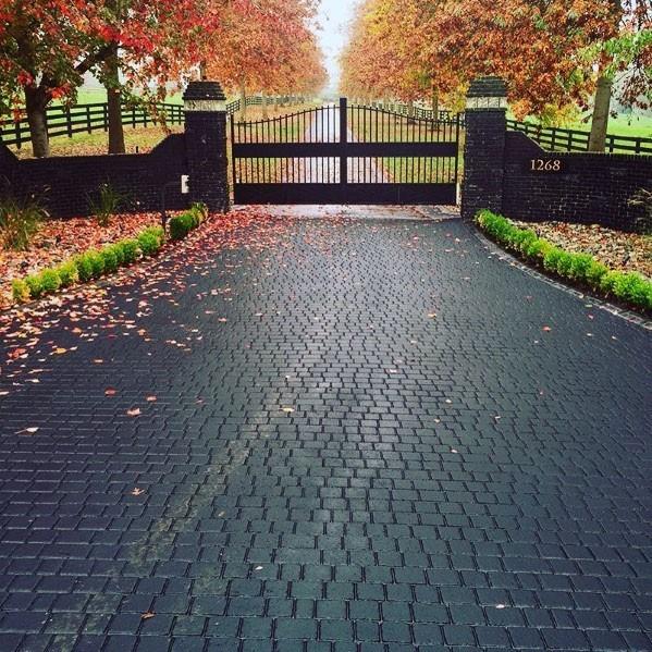 driveway designs black paver driveway ideas with gated entrance UWYYFFH