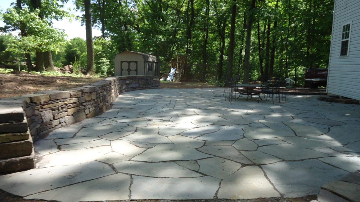 dry stone wall and flagstone patio SHOHRRR