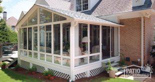 enclosed patio white aluminum frame sunroom with gable roof OZLFNWJ