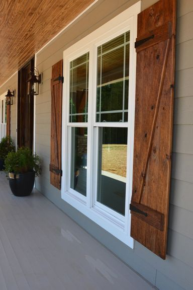 exterior wood shutters grey exterior with wooden shutters and brick bottom CSTJRQN