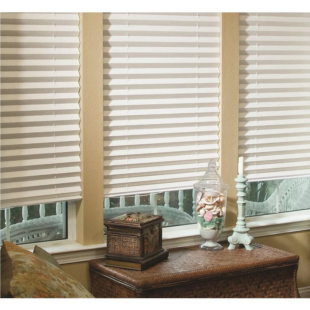 fabric shades redi shade white fabric corded light blocking pleated shade - 48 in. LRJXNGE