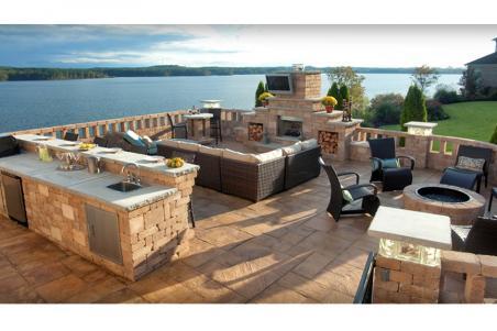 fireplace, outdoor kitchen u0026 seating LENSCKT