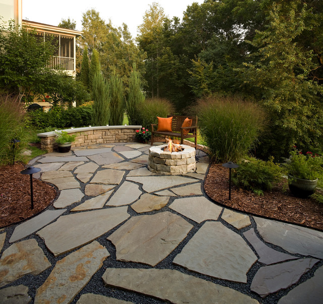 flagstone patio and natural stone fire pit traditional-patio ZQBVYMF