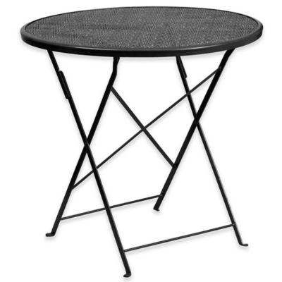 flash furniture indoor/outdoor folding patio table in black VOFOMJJ