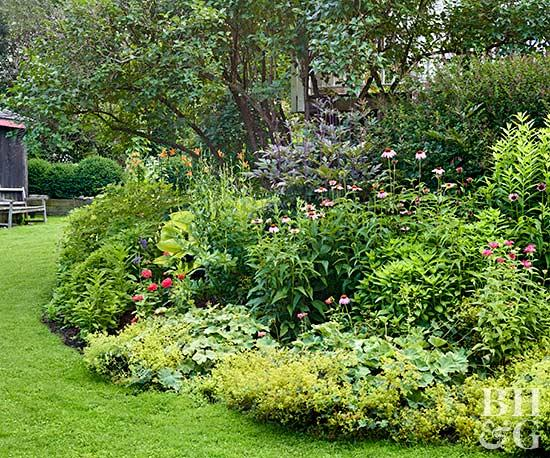 flower beds lush rounded garden bed OHQBPIB