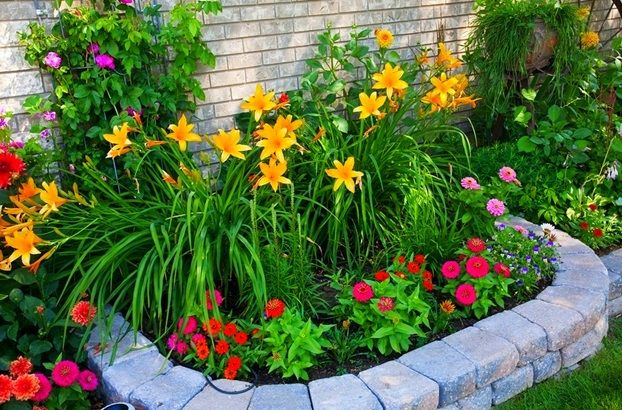 flower garden designs easy+front+yard+flower+beds | small-front-yard-landscape-design -with-colorful-flower-garden EHJEHBL