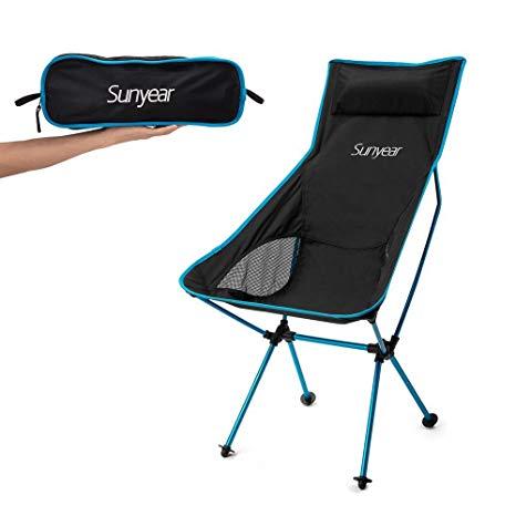 folding camping chairs amazon.com : sunyear innovative foldable camp chair, stuck-slip-proof feet,  high back, UXPZUNI