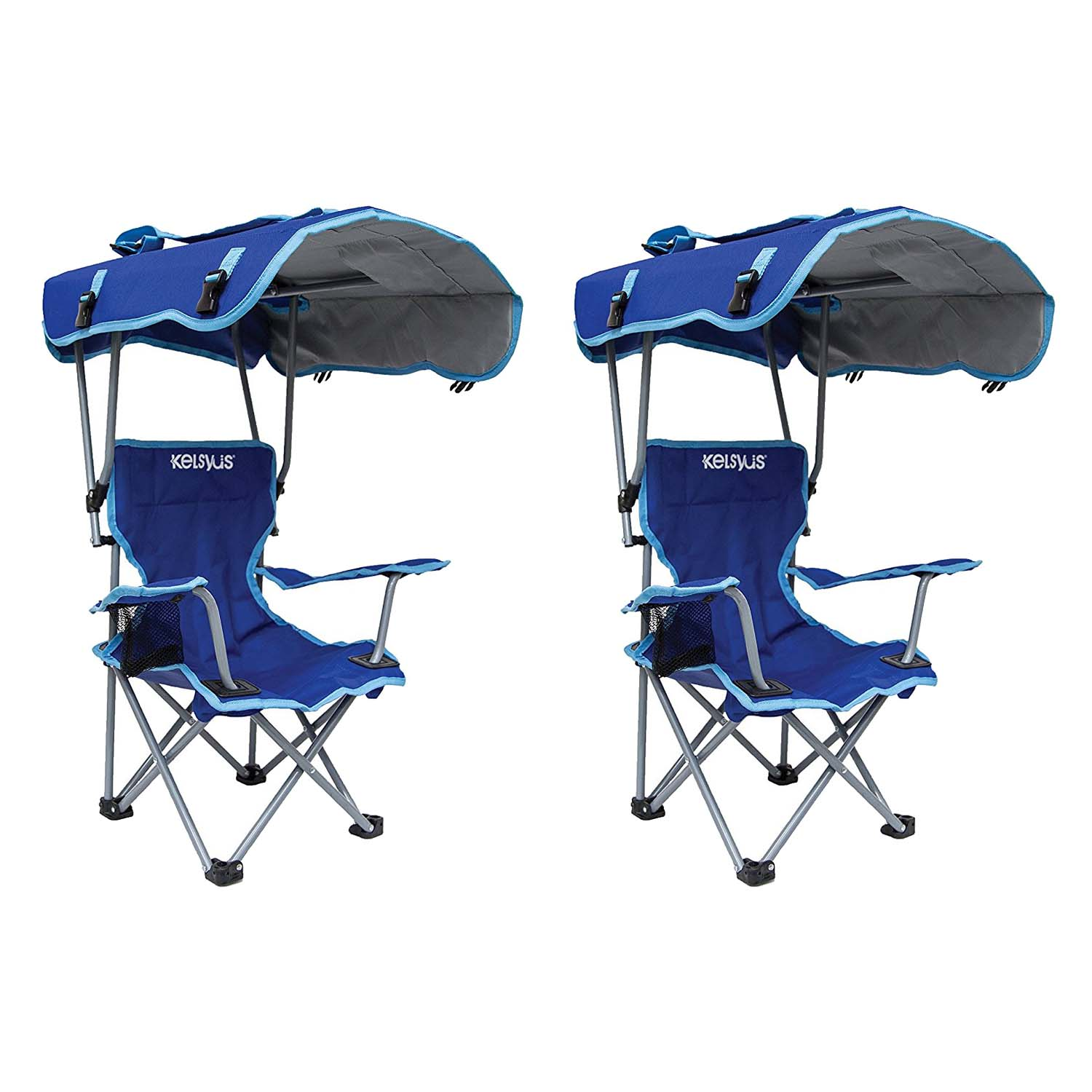 folding chair with canopy kelsyus kids original canopy folding backpack lounge chair (2 pack) blue | XMFAWLB
