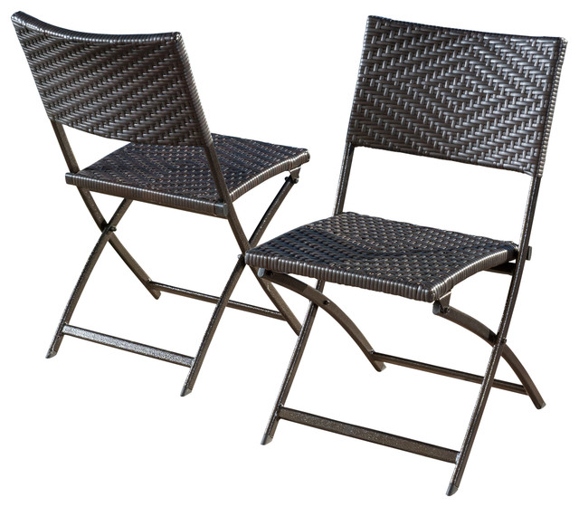 folding outdoor chairs jason outdoor brown wicker folding chairs, set of 2 VEDOIBQ