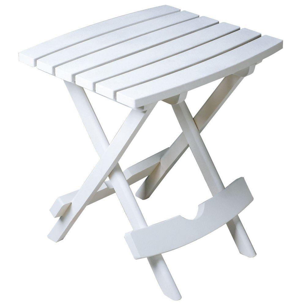 folding patio table adams manufacturing quik-fold white resin plastic outdoor side table VLQJJQW