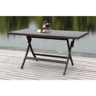 folding patio table dilettie brown rattan folding patio dining table NQJQKXI