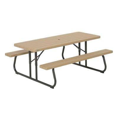 folding patio table heather beige folding picnic table OWWDRWJ