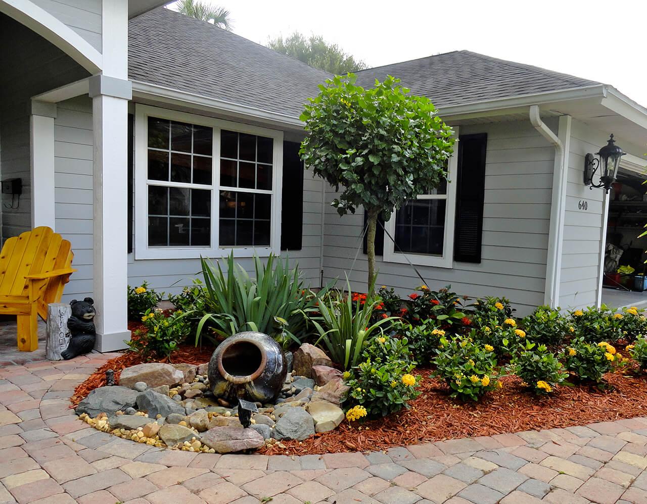 front yard landscaping 2. mini water feature entryway EEKPLQX