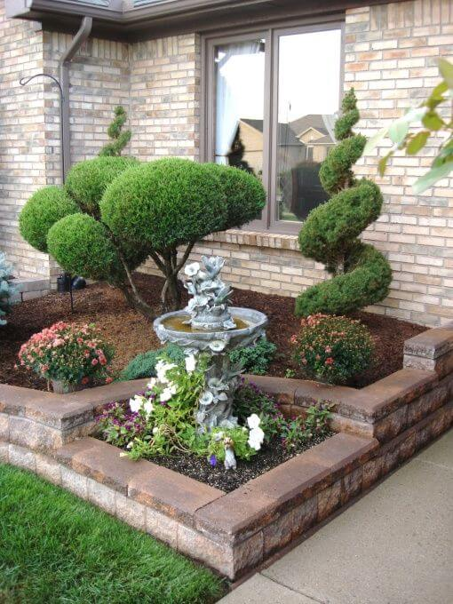 front yard landscaping ideas easy care evergreen entryway CDGVXPW