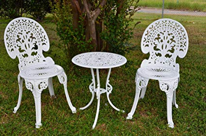 garden bistro sets angel white garden bistro set - table and two chairs for yard, LEGOUEH