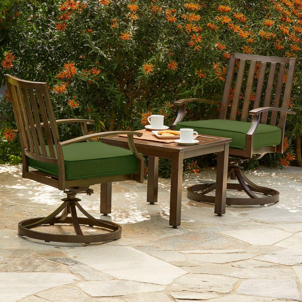 garden bistro sets royal garden bridgeport 3-piece metal outdoor bistro set with green cushions CLHMTTL