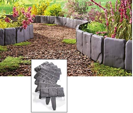 garden border edging (usa warehouse) interlocking faux stone border edging, 10 piece garden  borders, ZPVKHOU