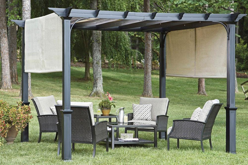 garden canopy garden treasures 10u0027 pergola canopy with ... QLVQJYR