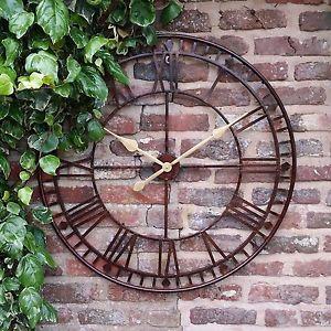 garden clock image is loading large-outdoor-garden-metal-80cm-wall-clock-big- KNMWRUV