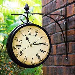 garden clock outdoor garden paddington station wall clock 20cm double sided outside  bracket NHGTMMR