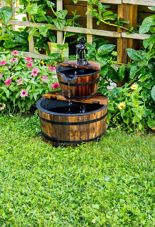 garden fountains wooden barrel water fountain CAOADKH