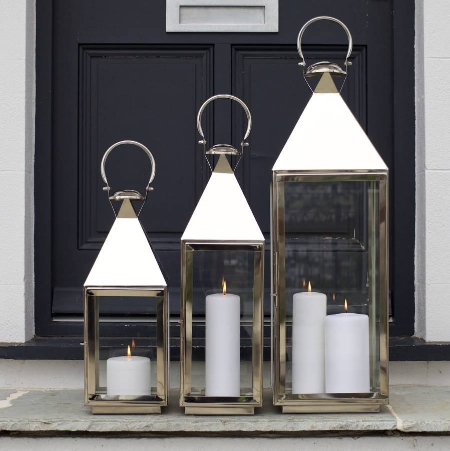 garden lanterns tall stainless steel garden candle lantern WZPZUJQ