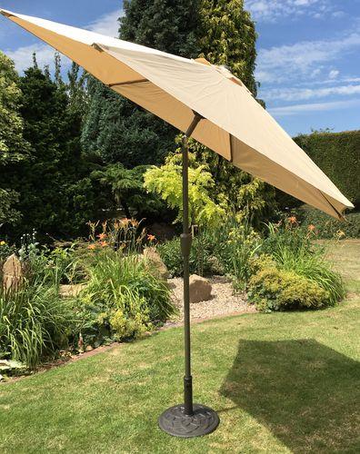 garden parasols large 2.7m metal crank and tilt garden parasol umbrella - 10 colours TDFFZRQ