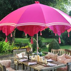garden parasols pink garden parasol with tassels and ribbons ULHWYKE