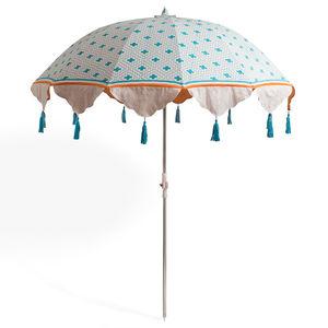 garden parasols turquoise and orange block printed parasol by east london parasol company | WKWQXWO