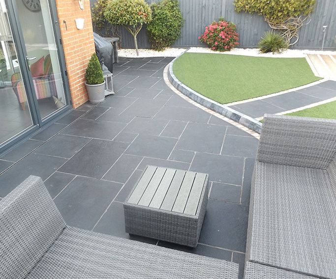 garden patio ideas carbon black limestone flagstones   modern patio   landscaping   #garden SHUTQDG