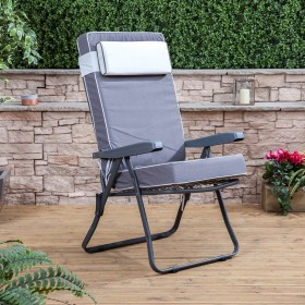 garden recliners recliner chair - charcoal frame with luxury cushion NLXLMOK
