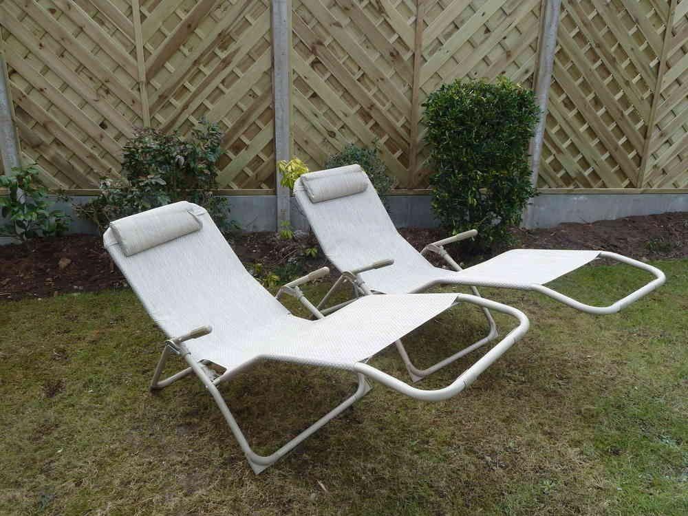 garden recliners set of 2 garden sun lounger chairs beige garden recliner relaxer chair VIPEXSZ