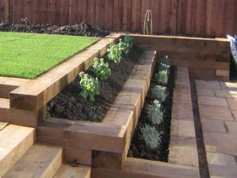 garden retaining wall retaining wall wooden sleepers - google search FJXBYPC