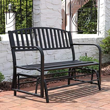 garden seat sunnydaze outdoor garden bench 50 inch, metal glider patio seat, black MAWTUPQ
