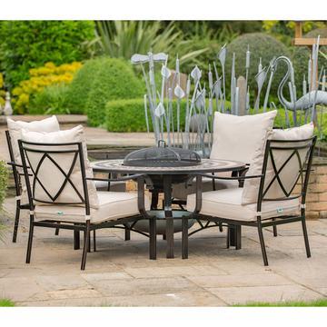 garden set leisuregrow casablanca metal 120cm 4 seat lounge firepit garden furniture  set RSEYSKU