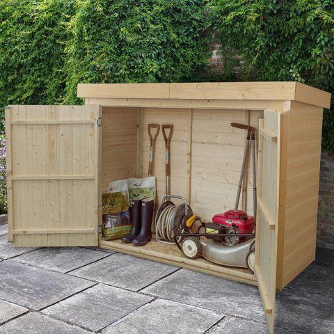 garden storage 7x3 pressure treated shiplap large pent outdoor store MRRXKXE