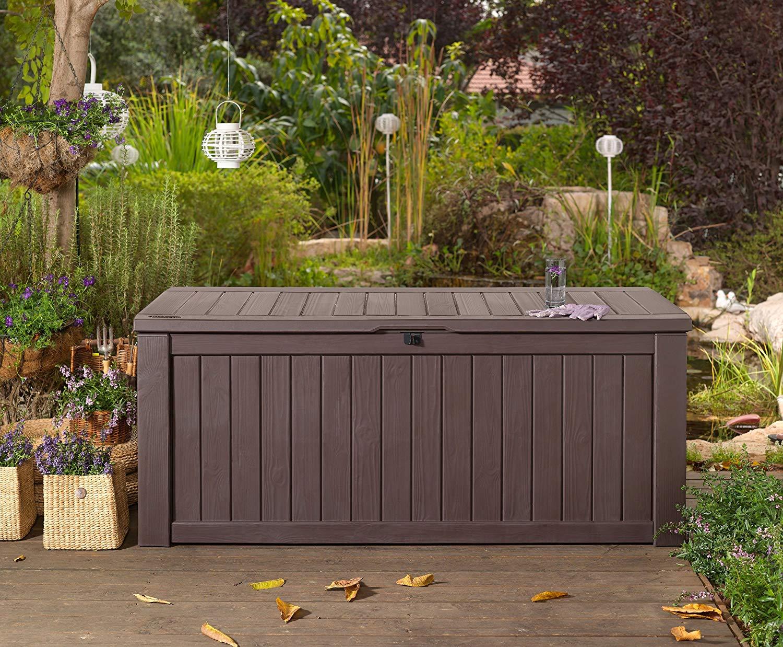 garden storage boxes garden storage bench box large 570l keter resin furniture lockable  waterproof: MMLWXVZ