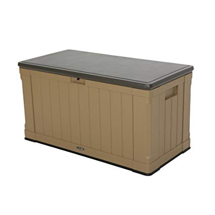 garden storage boxes lifetime 60167 outdoor storage box, 116 gallon, heather beige SXXBOKX