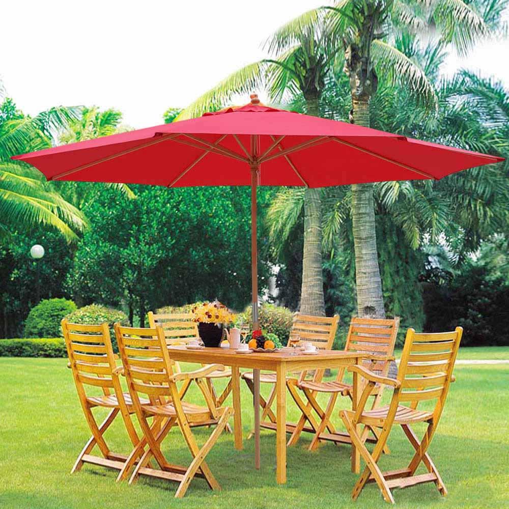 garden umbrella 13u0027 xl german beech wood umbrella patio outdoor garden cafe beach pool JRFBFUY