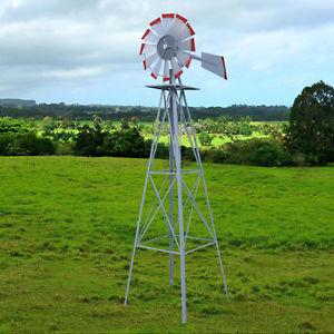 garden windmill metal 8ft windmill yard garden decoration weather rust resistant wind  spinners DAYXEZA