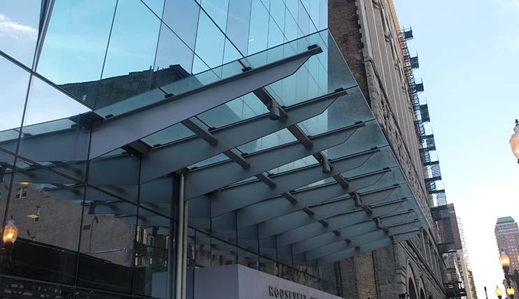 glass canopy design - slope considerations BYMNCMM