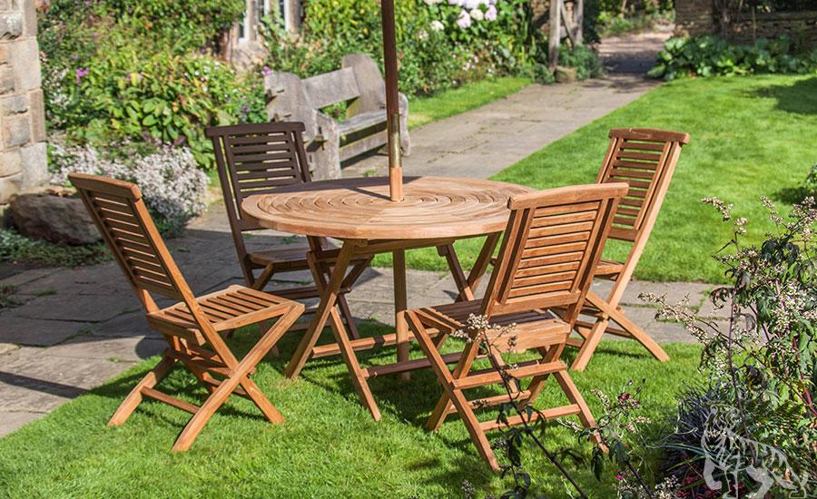 goodwood four seat teak table u0026 folding chair outdoor garden furniture set VZJLYUD