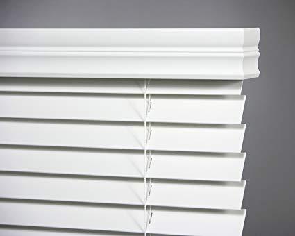 graber white horizontal blinds faux wood 2 ... HAMNLIB