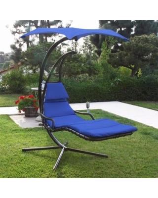 hammock with canopy patio swing chair lounger hammock sun canopy, blue XSEQOFT