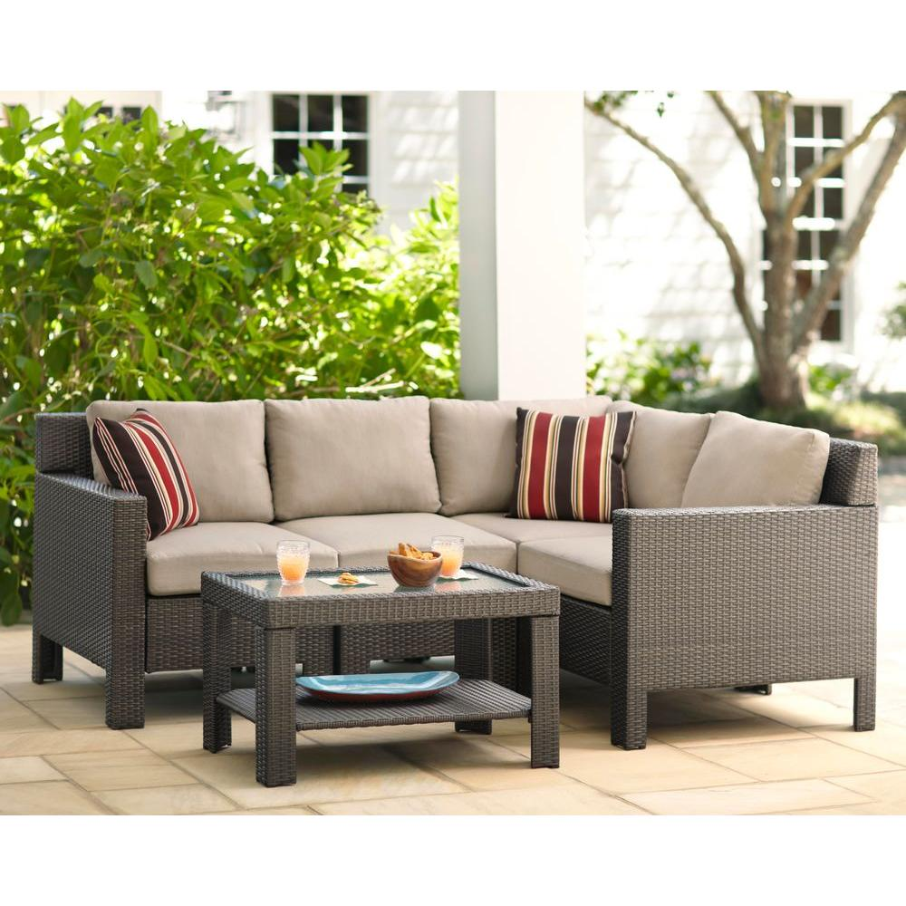 hampton bay beverly 5-piece patio sectional seating set with beverly beige HWSXNQA