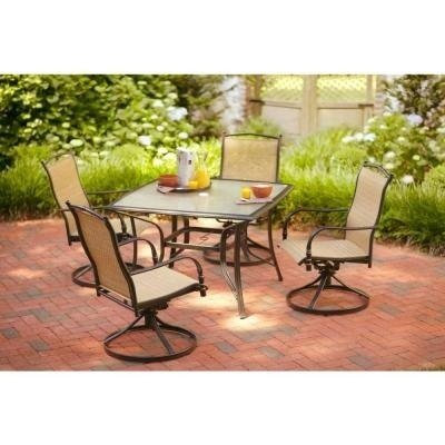 hampton bay patio set hampton bay altamira diamond 5-piece patio furniture dining set, seats 4 YAZAEBY
