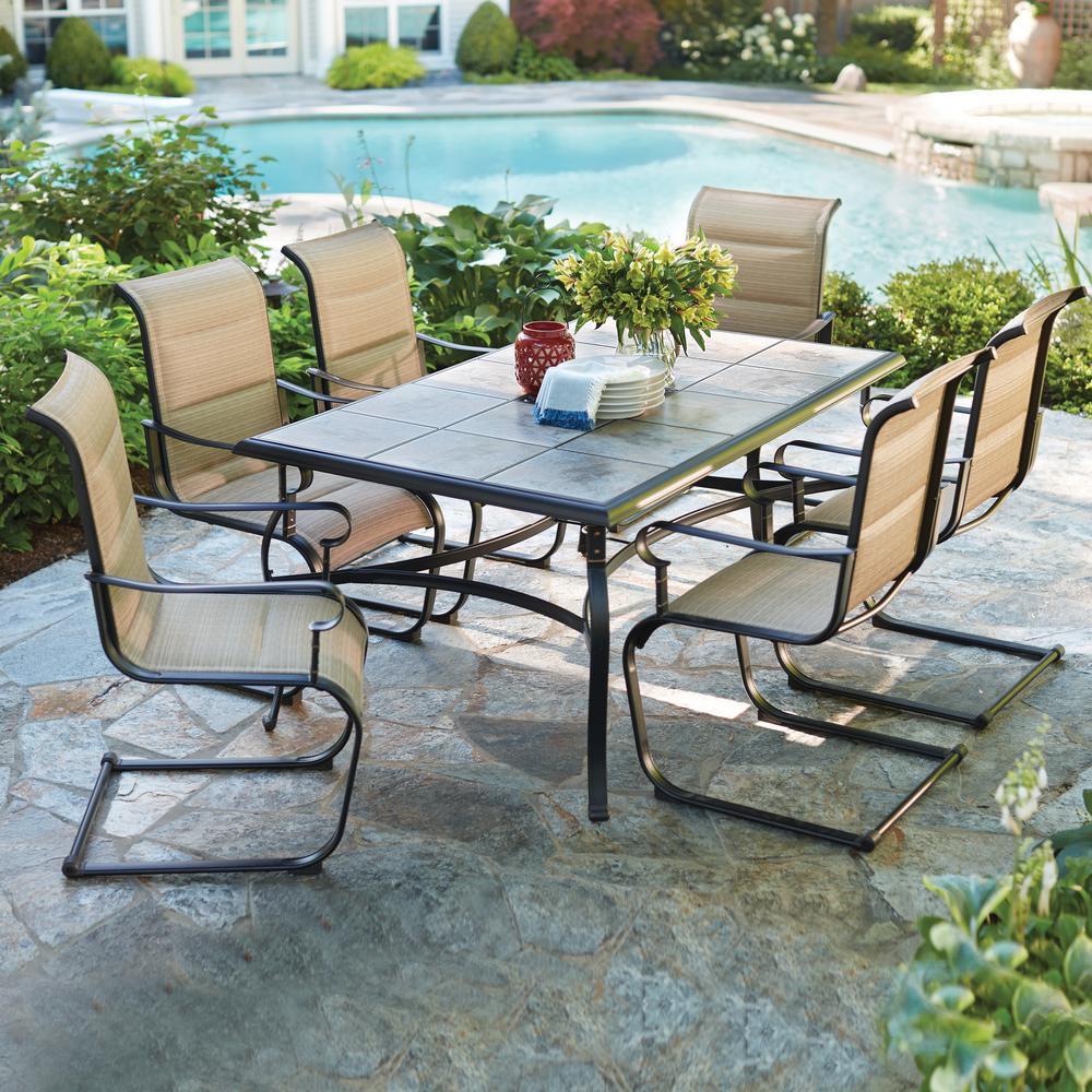 hampton bay patio set hampton bay belleville 7-piece padded sling outdoor dining set QIZBKEP