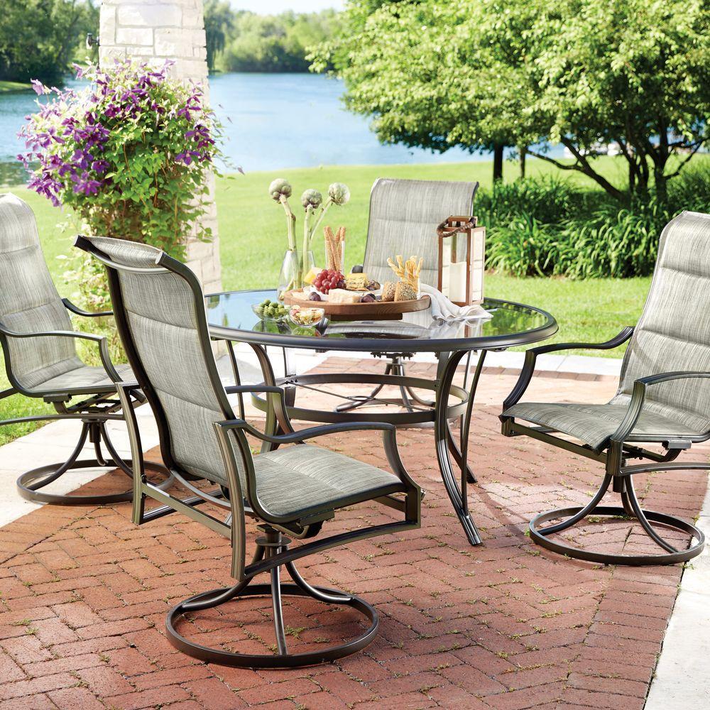 hampton bay patio set hampton bay statesville 5-piece padded sling patio dining set with 53 in. JAPRDYT