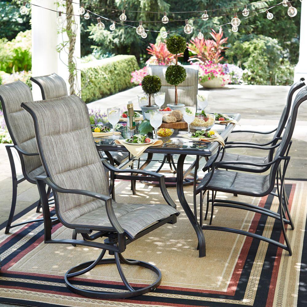 hampton bay patio set hampton bay statesville pewter 7-piece aluminum outdoor dining set UNOCIRD