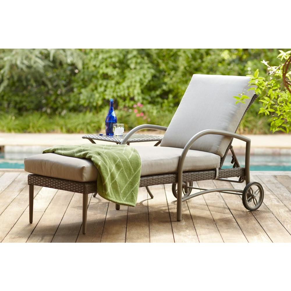hampton bay posada patio chaise lounge with gray cushion VZULZXX